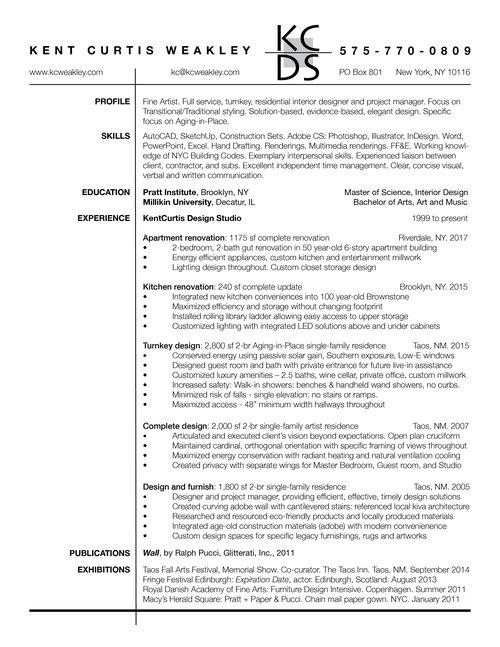 Resume — KentCurtis Design Studio