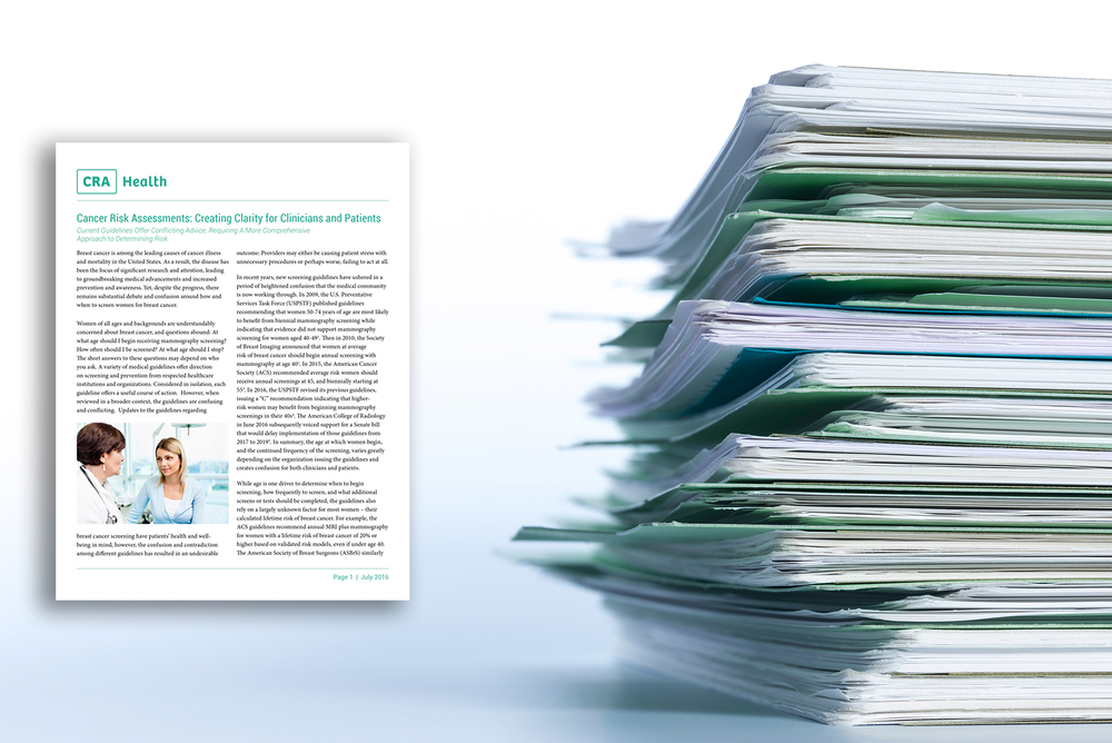 Whitepaper:   Cancer Risk Assessments: Creating Clarity for Clinicians and Patients    Read Whitepaper