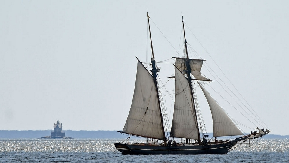In this file photo, the schooner Amistad sets sail in Fishers Island Sound after departing Mystic Seaport Tuesday, April 28, 2015. (Sean D. Elliot/The Day)