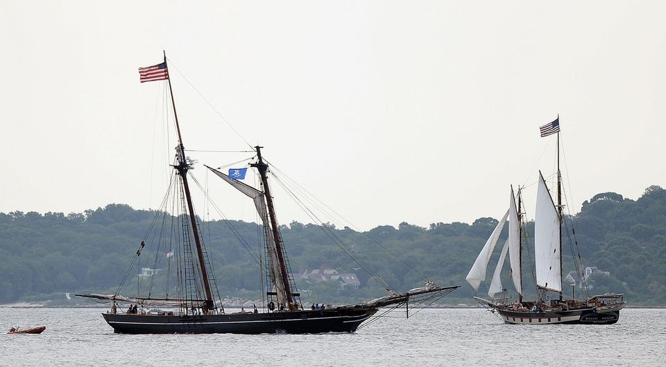 The schooner Amistad passes the schooner Mystic Whaler in Fishers Island Sound after getting under way from Mystic Seaport en route Monday, August 29, 2016 to New London where it will dock through the Connecticut Maritime Heritage Festival September 9-11. Amistad will also make visits to New Haven and Bridgeport before returning to winter at Mystic Seaport. (Sean D. Elliot/The Day)