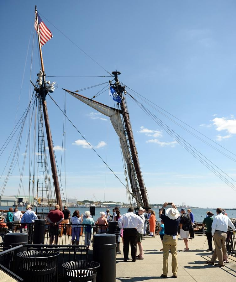 Visitors view the schooner Amistad docked at its eponymous Amistad Pier prior to a welcoming ceremony for the schooner Monday, August 29, 2016. (Sean D. Elliot/The Day)
