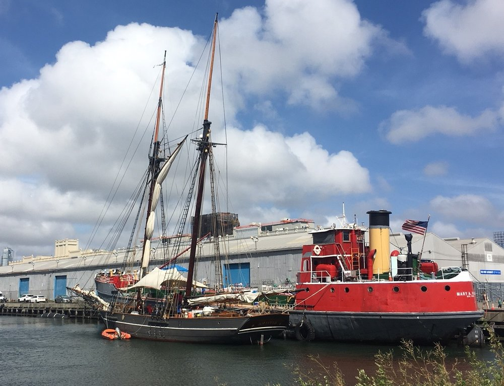 The Amistad and Mary A. Whalen get ready for tours on August 11