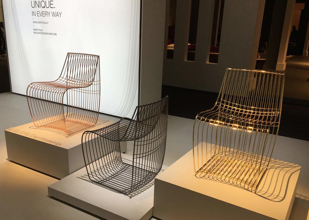 MDF Italia Sign Filo Stühle, Traggestell aus Stahldraht unterschiedlichen Durchmessers