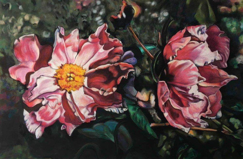 Peony, Ute Latzke, Pastellkreide auf Velour und MDF, 60 x 40 x 1 cm, 2017, Preis 600 Euro