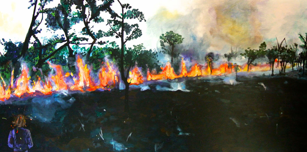 Fire walk with me, Acryl auf Leinwand, 50x100x4 cm, 2010, 1300 Euro