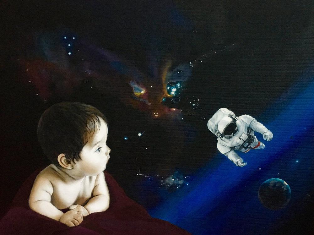 Space Man, © latzke, 30x40 cm, gerahmt, 2018, 550,-