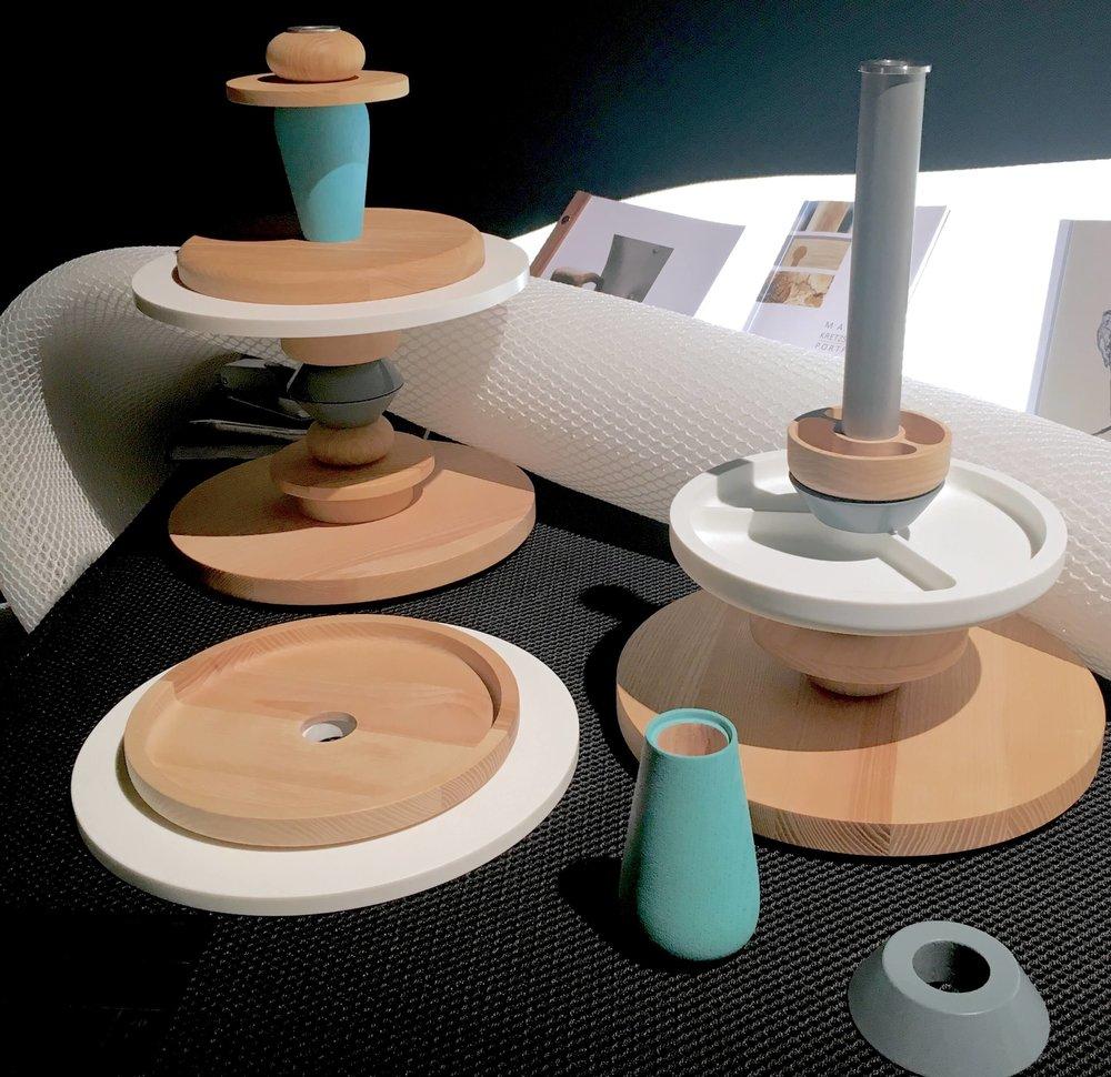 Accessoires aus Holz und Porzellan, studentische Projektarbeit