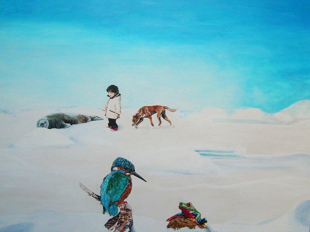 Pat und Patachon auf Safari (The kids are alright), 100x80 cm, Malerei, @ Ute Latzke, Preis: 1400 Euro.