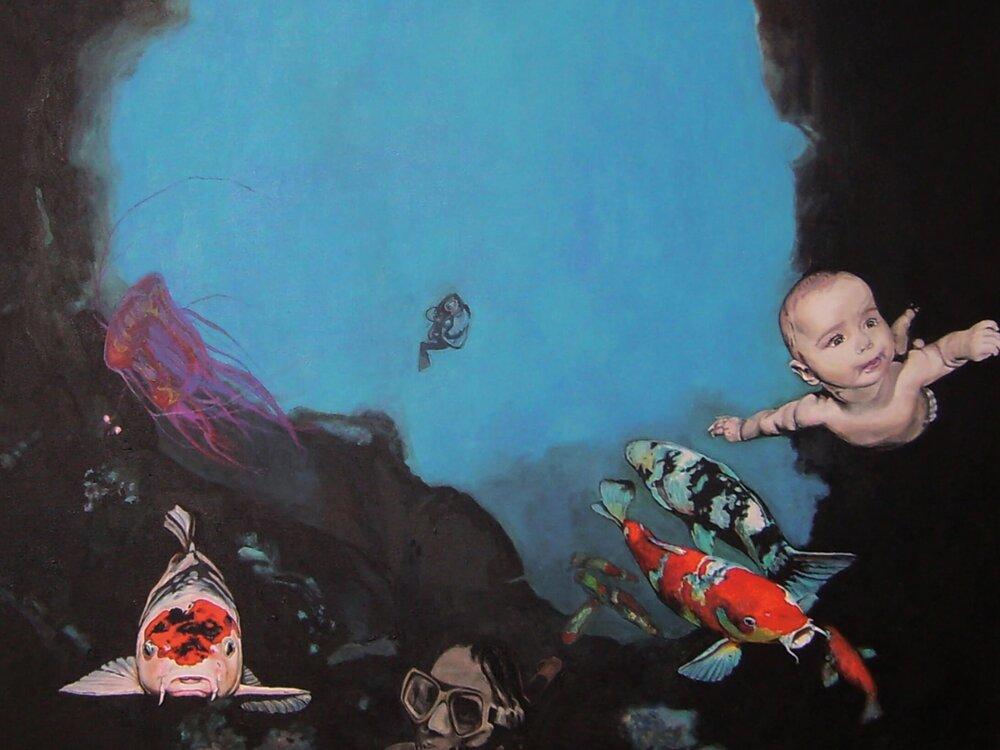 Three Kois and Timmy (The Kids are alright), Malerei, 100x80x4 cm, @ Ute Latzke, verkauft.