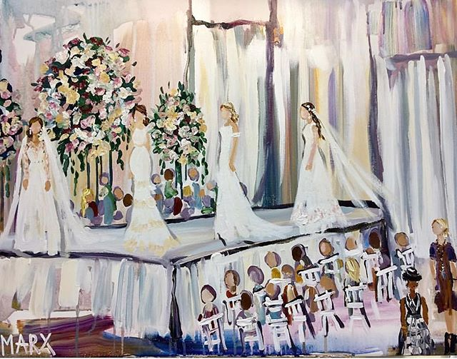 Isn't this painting of the @heidielnora runway show at the 8th Annual #southernbridalfaire GORGEOUS?!? We Love @marx.studio.