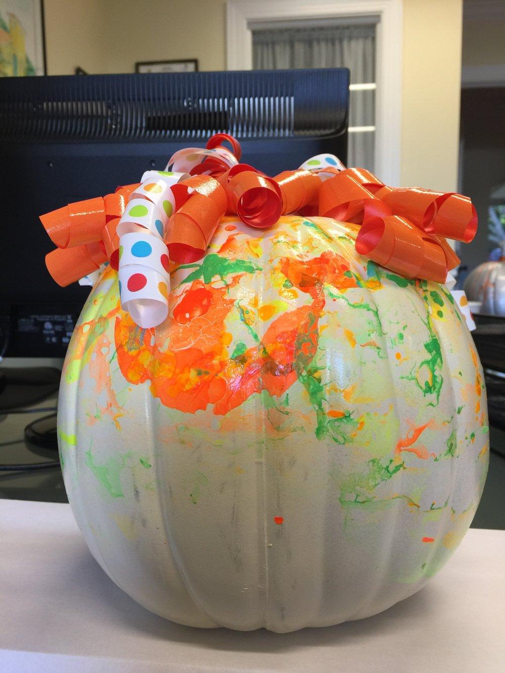 Blossoms' nail polish pumpkin.