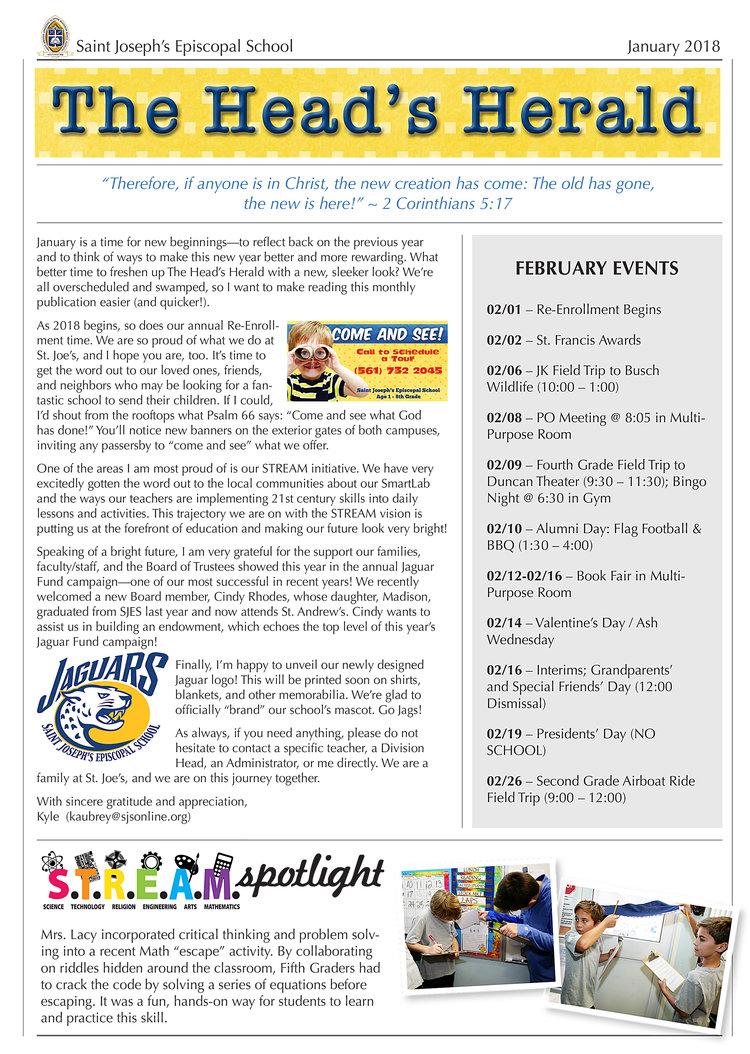 The Head\'s Herald — Saint Joseph\'s Episcopal School