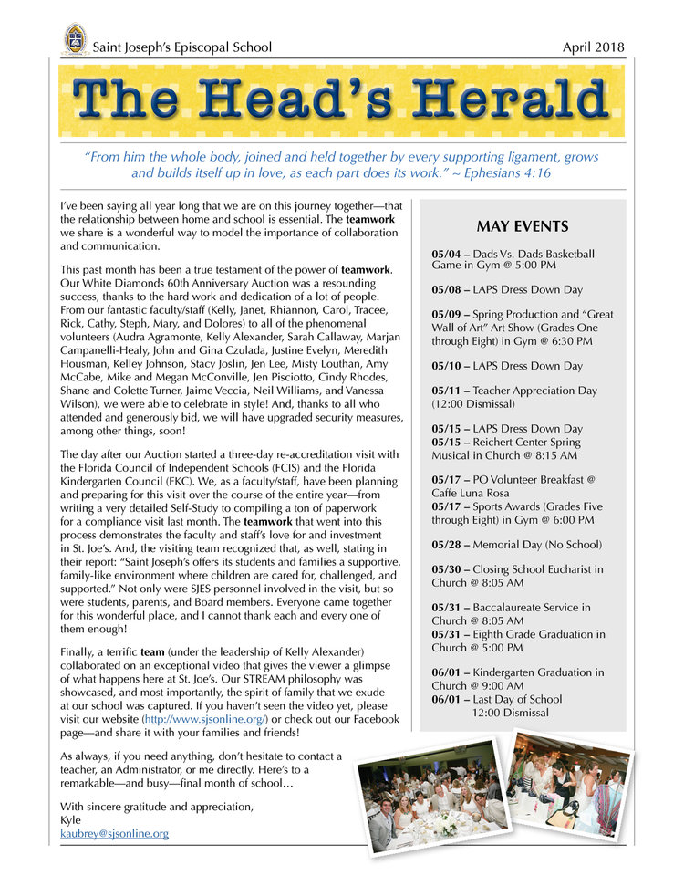 74b26c259 STREAM — The Head's Herald — Saint Joseph's Episcopal School