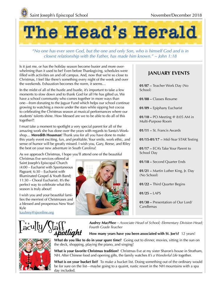 The Head S Herald Saint Joseph S Episcopal School