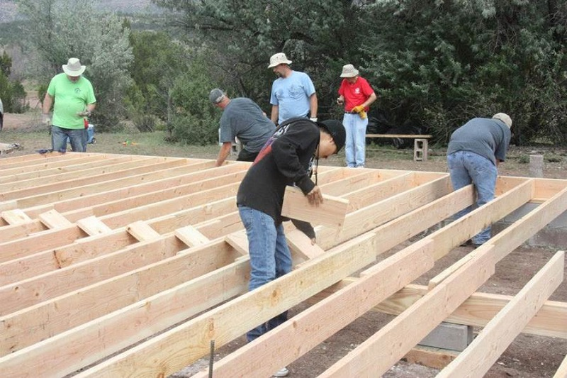 Volunteers from Risen Savior building for Shepherd of the Valley Lutheran Church, Navajo, New Mexico