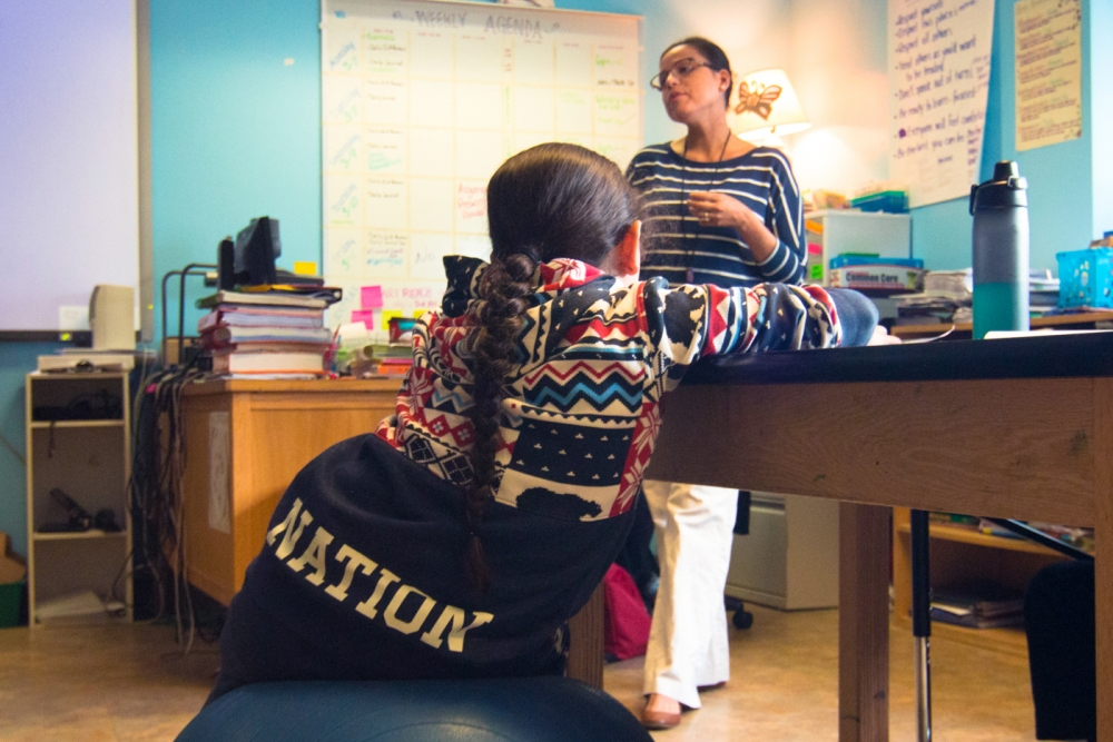 Cecilia Stevens teaching at Saginaw Chippewa Academy. Photo by Rachel Harrison, Central Michigan Life