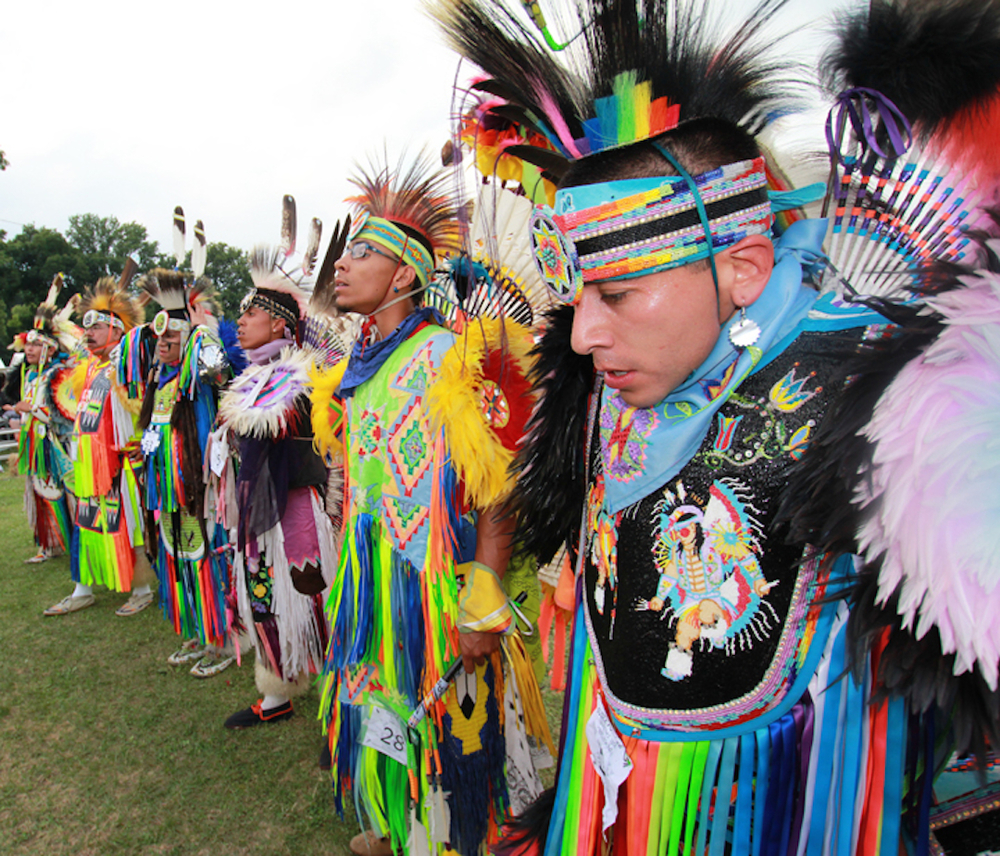 powwow men lined up