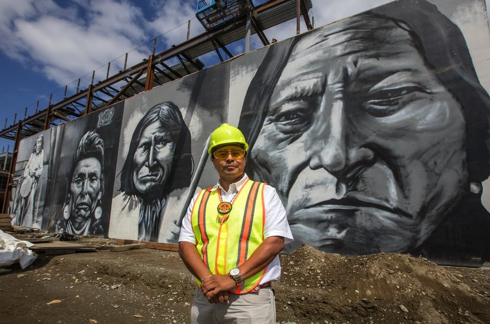 Murals find new home at Robert Eagle Staff Middle School in Seattle. Photo credit: Steve Ringman/The Seattle Times
