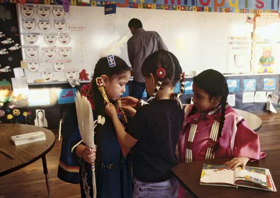 Girls at Nizipuhwasin Blackfeet Native Language Immersion School. Photo credit:  Catherine Karnow/Corbis