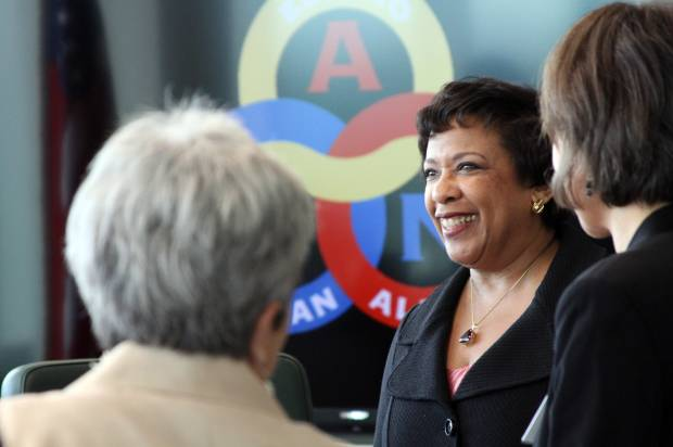 U.S. Attorney General Loretta Lynch greets Alaska Native leaders in Anchorage. Photo credit: Mark Thiessen/AP Photo