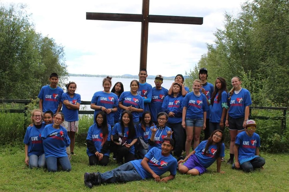 The teens sporting their Thrivent shirts at Camp Bingle at Lutheran Indian Ministries Teen Camp Alaska