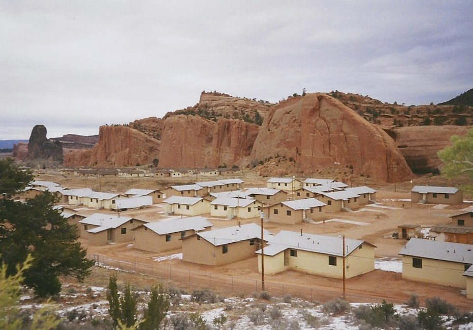 the town of navajo new mexico streets lined with prefabricated houses lutheran indian ministries