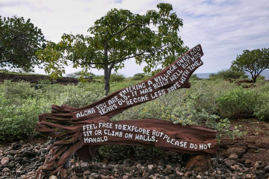 A sign marks the entrance to the remains of a 600-year old village at Lapakahi State Historical Park near Hawi on Hawaii's Kohala Coast.Photo: George Rose, Getty Images