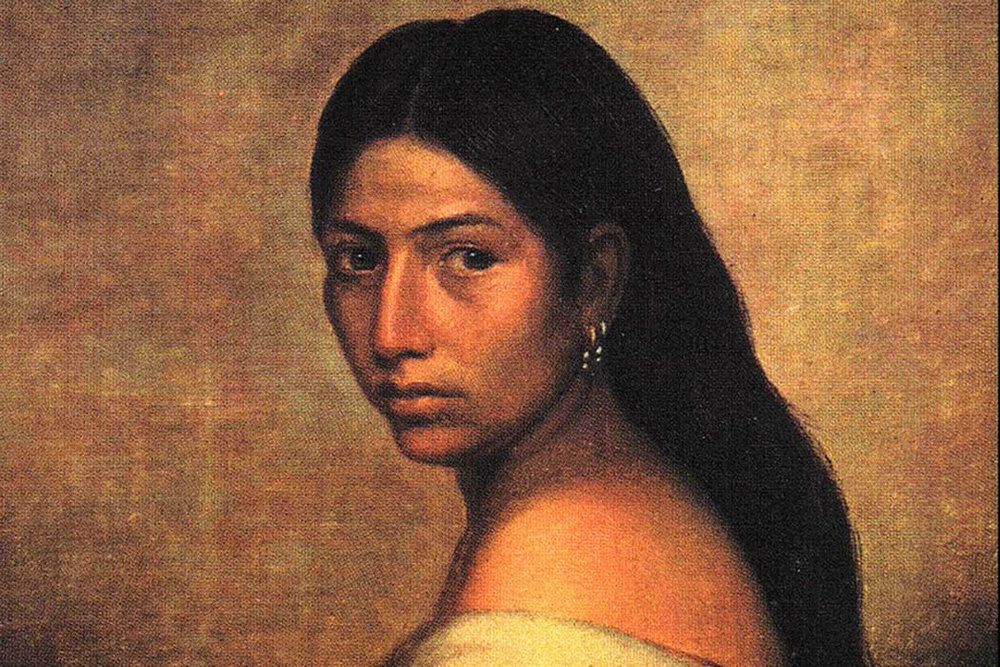 Portrait of a young Choctaw woman, 1850 via  Wikimedia Commons
