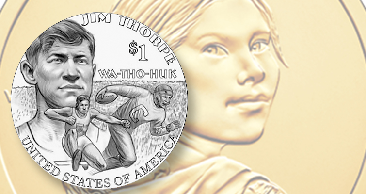 Native American athlete Jim Thorpe's likeness will appear on the reverse of the 2018 Native American $1 coin.  Images courtesy of U.S. Mint. lutheran indian ministries native news