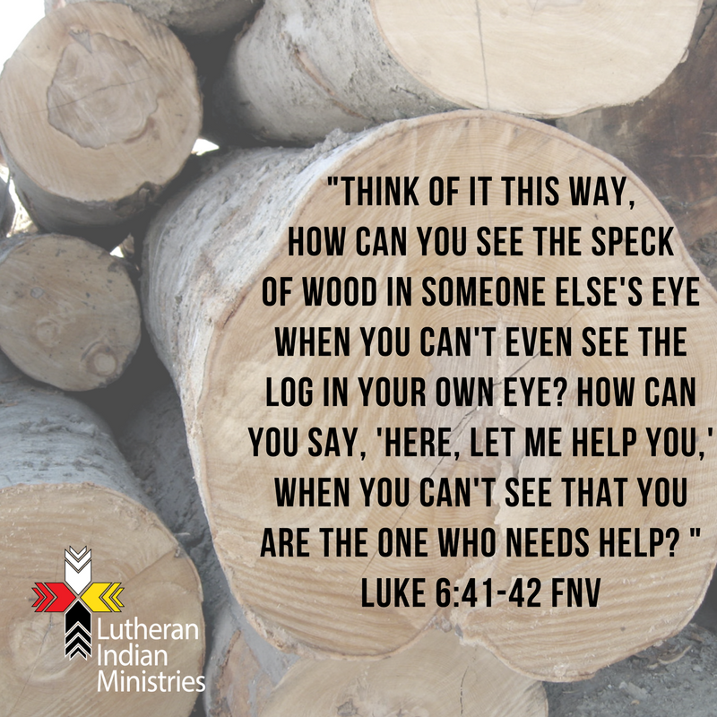 _Think of it this way, how can you see the speck of wood in someone else's eye when you can't even see the log in your own eye_ How can you say, 'Here, let me help you,' when you can't see that you are the one.png luke 6:41-42 fnv lutheran indian minsitries