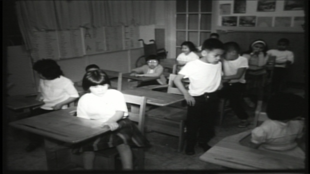 Children are shown attending class at the Nanaimo Indian Hospital in a CBC-TV story from 1964. (CBC Archives ) lutheran indian ministries native news