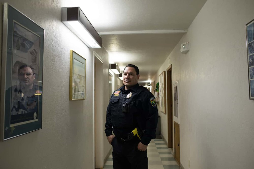 Zachary Lamblez, the chief of police and director of public safety. Lamblez, a former US marine, has been a tribal police officer for 16 years. Photograph: Ash Adams for the Guardian