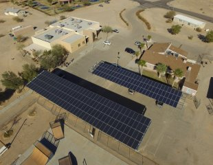 The Chemehuevi microgrid will provide about 85 percent of the community center's energy usage. Photo Credit: GRID Alternatives