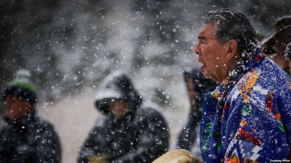 Blackfeet military veteran and spiritual advisor Roger Vielle during sweat ceremony for Vietnam veterans on the Blackfeet Reservation, Montana, September 2017. Courtesy: Wingspan Media Productions.