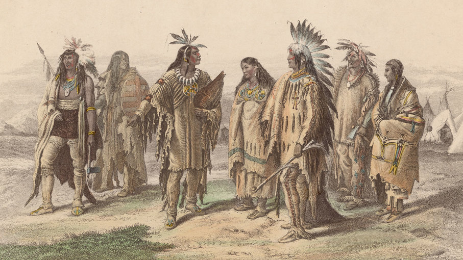 Representatives from various Native American tribes: from left to right, an Iroquois, an Assiniboine, a Crow, a Pawnee, an Assiniboine in gala dress, a Dakota or Sioux warrior and a Dakota or Sioux woman. (Original artwork engraved by JJ Crew after a drawing by A Huttula.) HULTON ARCHIVE/GETTY IMAGES lutheran indian ministries native news