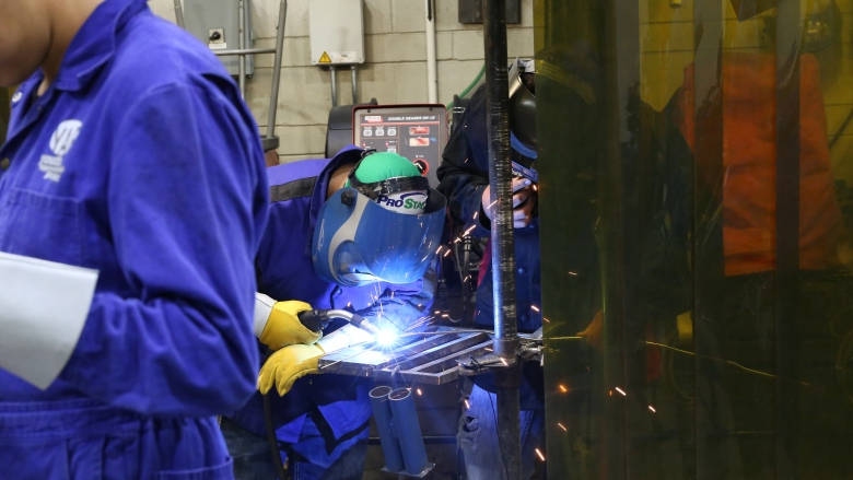 A student works on a welding project at a Fort McMurray welding camp last year. Six Nations Polytechnic has started a new We Are Welders program aimed at getting women to learn welding. (David Thurton/ CBC) lutheran indian ministries native news