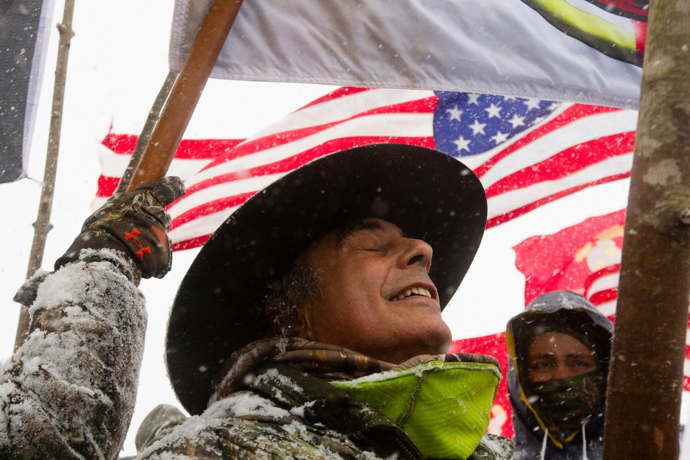 Thousands of veterans and supporters gathered near the Oceti Sakowin Camp for the veterans march in December 2016.CreditTailyr Irvine