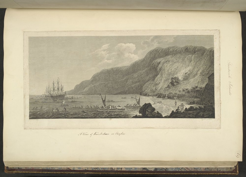"""View of Karakakooa in Owhyhee,"" drawn by John Webber and engraved by W. Byrne. The drawing is part of the ""James Cook: The Voyages"" exhibit at The British Library in London."
