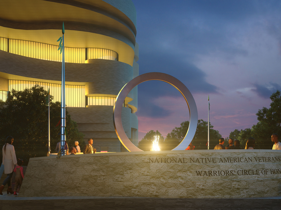The multimedia artist Harvey Pratt's  Warriors' Circle of Honor will incorporate an enormous, upright stainless steel circle.  National Museum of the American Indian