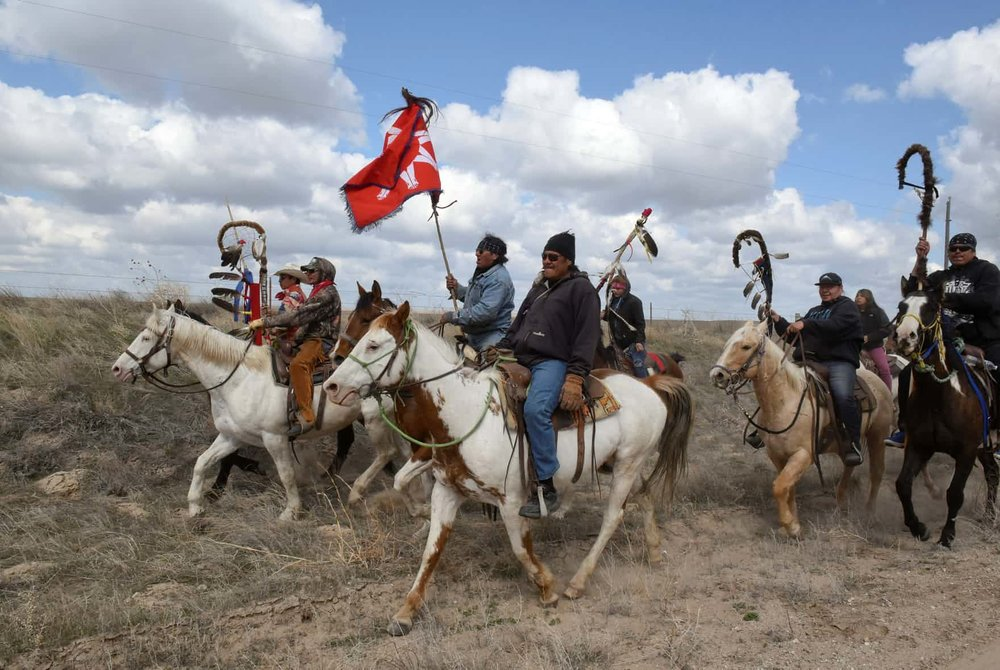 Roderick Dupris of the Cheyenne River reservation and other Fort Laramie treaty riders in Torrington, Wyoming Credit: Stephanie Keith/Reuters