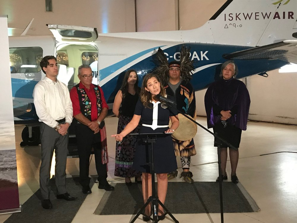Teara Fraser, the first Indigenous woman to launch her own airline, celebrates in Vacouver on Sep. 21, 2018. Photo by Emilee Gilpin