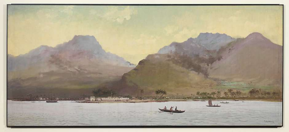 """Joseph Strong's painting """"Honolulu Harbor, 1836,"""" depicts the harbor in the year King Kalakaua was born."""