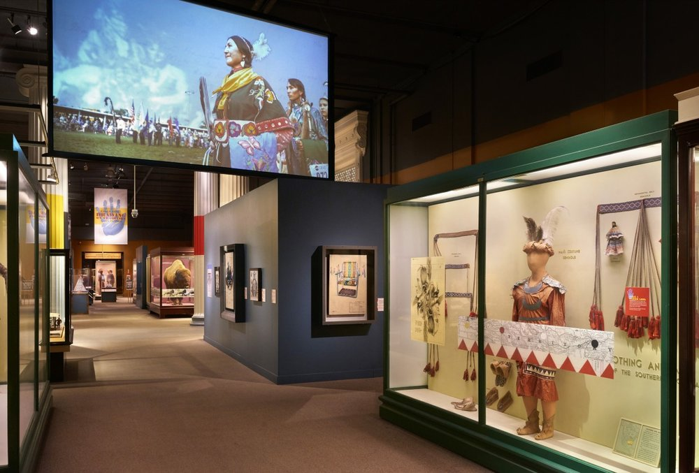 Installation view of  Drawing on Tradition: Kanza Artist Chris Pappan  at The Field Museum PHOTO: © JOHN WEINSTEIN, COURTESY OF THE FIELD MUSEUM