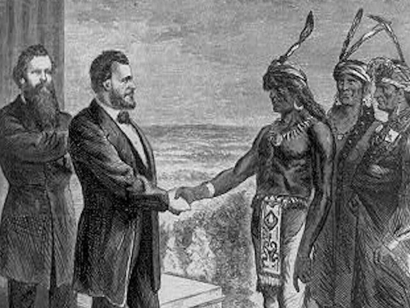 lutheran indian ministries native news - On an 1870 cover of Harper's Weekly, President Ulysses S. Grant is shown greeting the Oglala Chief Red Cloud who came to visit him in Washington, D.C. (Library of Congress)