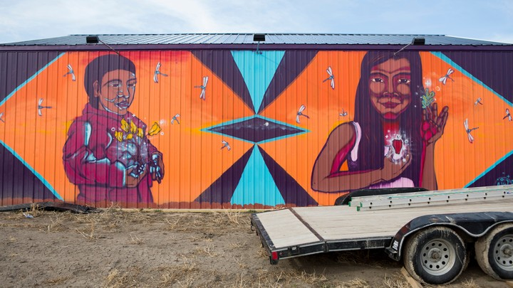 lutheran indian ministries native news - A mural painted on the campus of the Pine Ridge Reservation's Thunder Valley Workforce Development ProgramKRISTINA BARKER