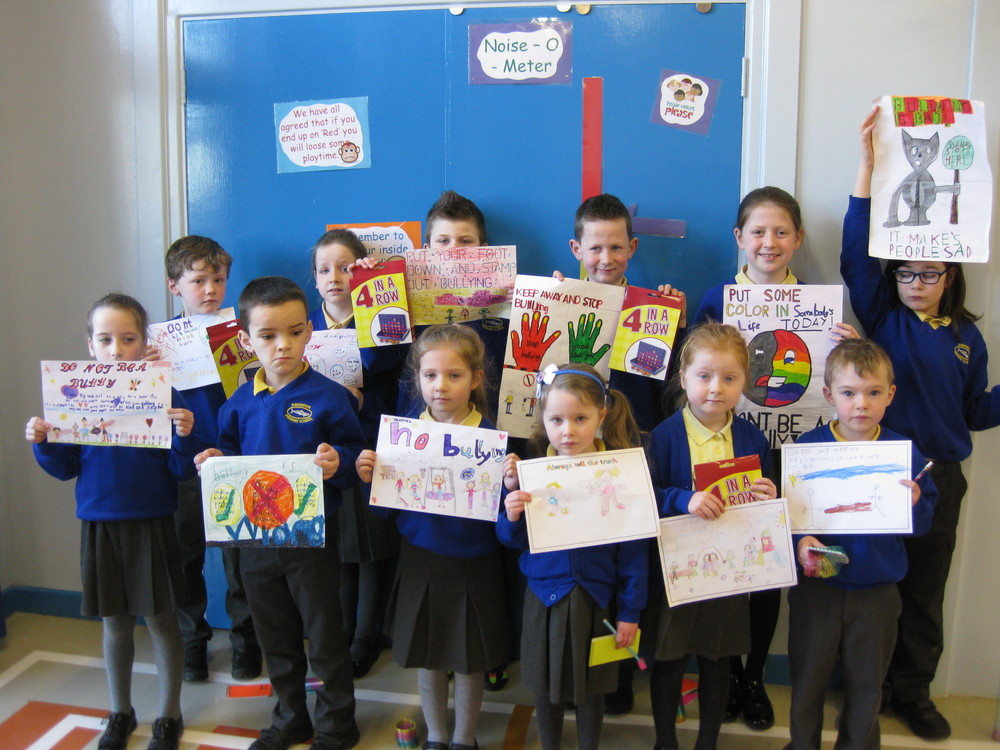Congratulations to first place winners Tom, Arjay, Isaac and Lucy. Second prize winners, Beth, Matthew, Ella and Cameron and third prize winners, Gavin, Grace, Hannah and Hana. The Northern Ireland Anti Bullying Forum kindly provided pencils for all the other super posters our children created.