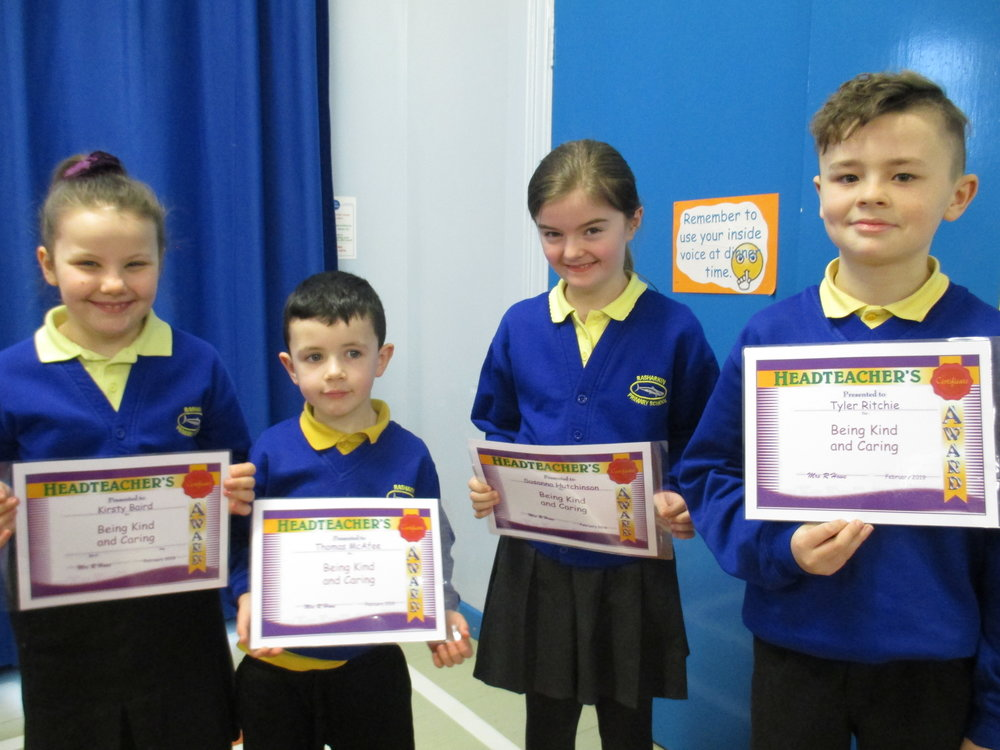Kirsty, Thomas, Susanna and Tyler received the 'Being Kind and Caring Award' for January 2019