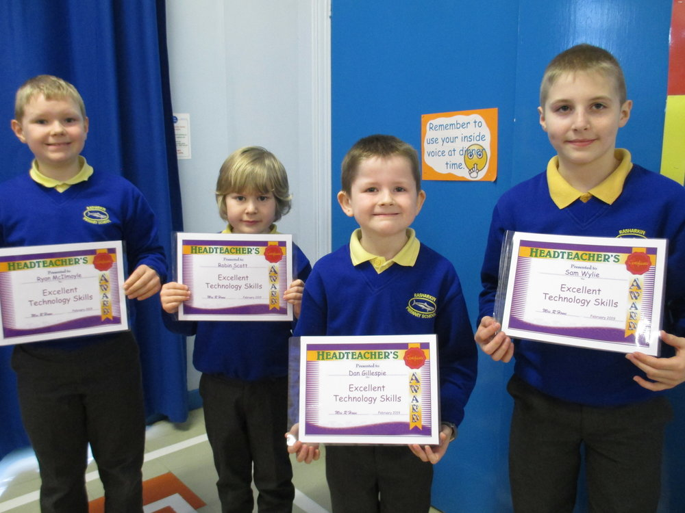 Ryan, Robin, Dan and Sam received certificates for 'Excellent Technology Skills'.
