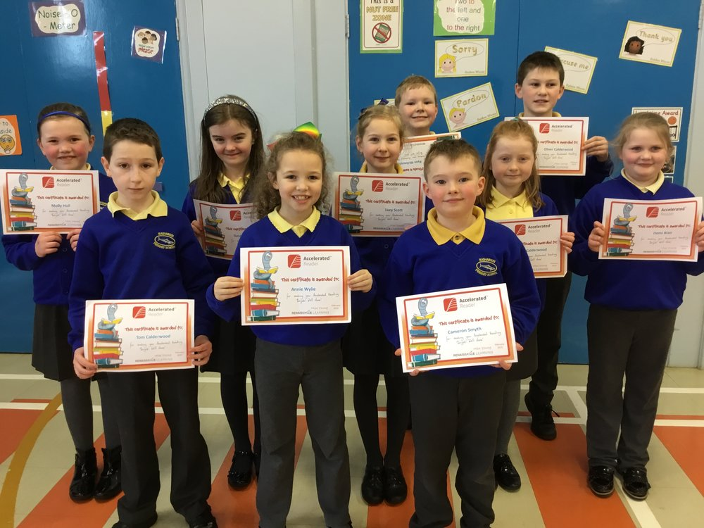 P5 children with their Accelerated Reading Certificates