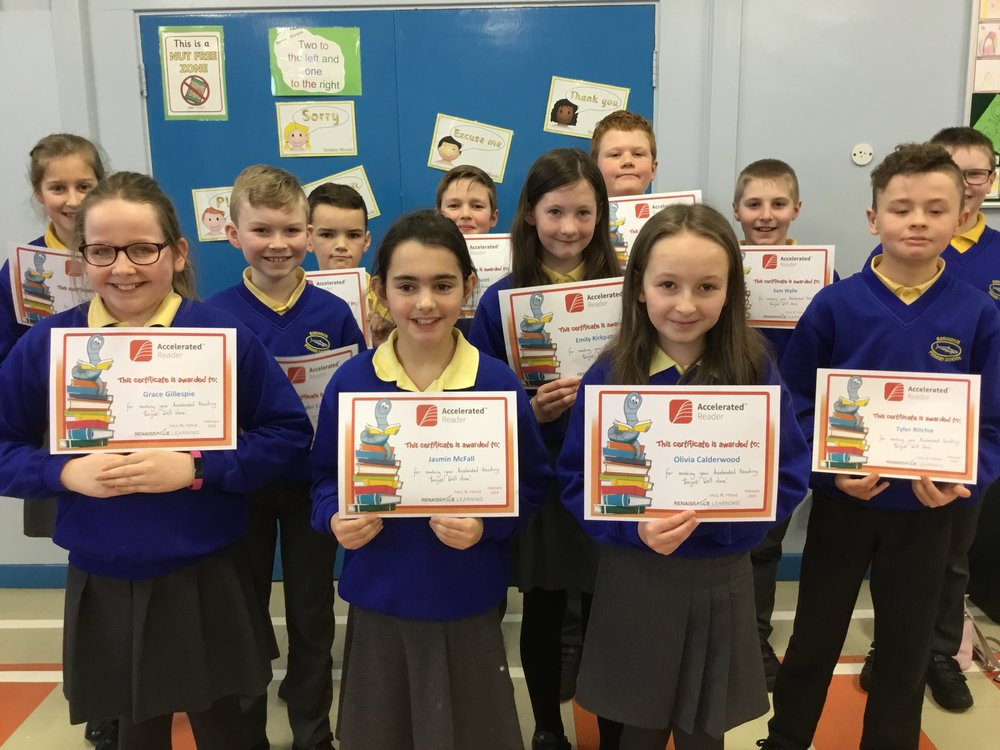 P7 children with their Accelerated Reading Certificates